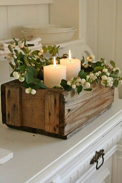 Simple and rustic centerpiece wood box greenery