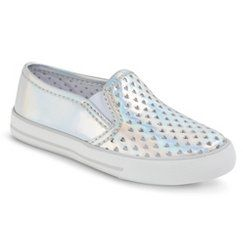 Toddler Girl's Circo® Devyn Heart Cut-out Sneakers - Silver 12