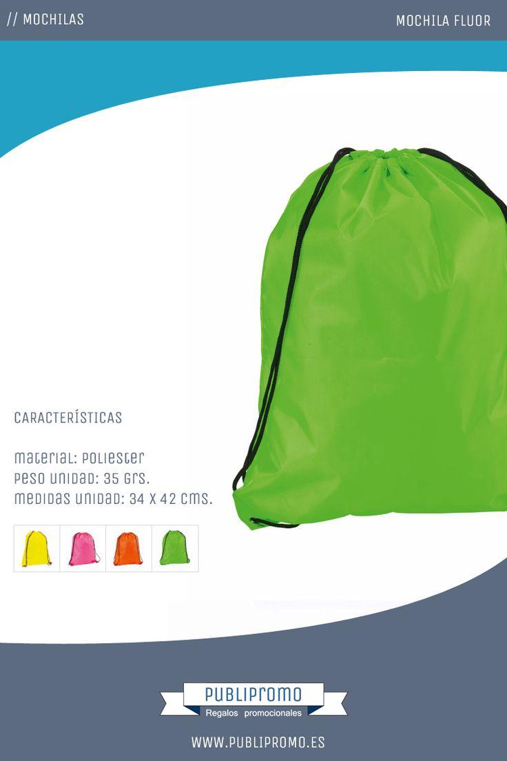 Mochila saco de cuerdas personalizada color Fluor.  Mochilas saco económicas de cuerdas de fuertes e intensos colores fluor para no pasar desapercibido. Ideales para situaciones en las que se necesite ser visto.  Todas nuestras mochilas saco en: Publipromo.es