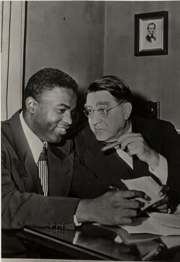 Branch Rickey, with Jackie Robinson.  Robinson was an amazing man, but Branch Rickey was a morally courageous genius.