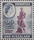 Rhodesia and Nyasaland, 12.8.1959, Queen Elizabeth II. No.22 2 1/2P greyish blue/purple. Stamped 0,28 USD, Mint Condition 0,28 USD.