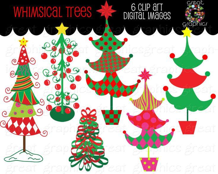 Christmas Tree Clipart Whimsical Christmas by GreatGraphics, $5.00