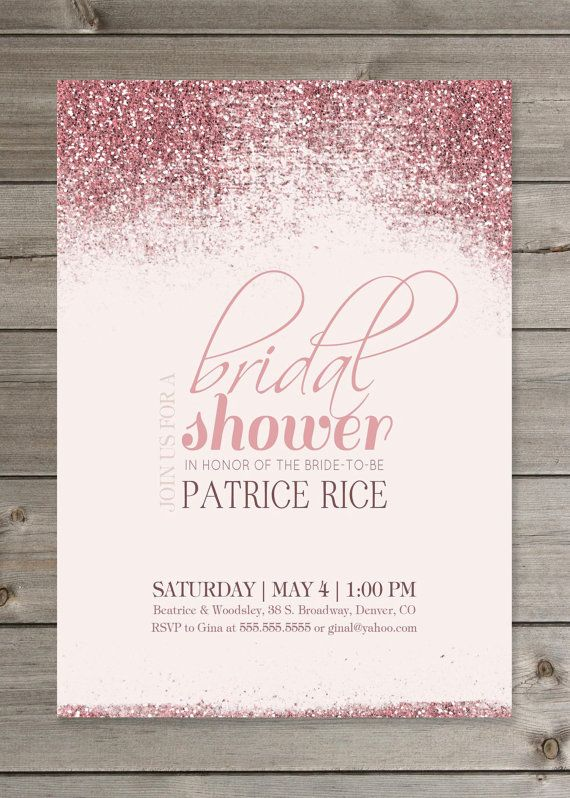 Pink Bridal Shower Glitter Invitation 5x7 By GaiaDesignStudios On Etsy