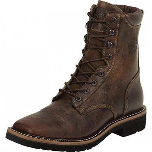 Justin Men's Work Boot Rugged Tan Lace Up Square Toe Steel Toe