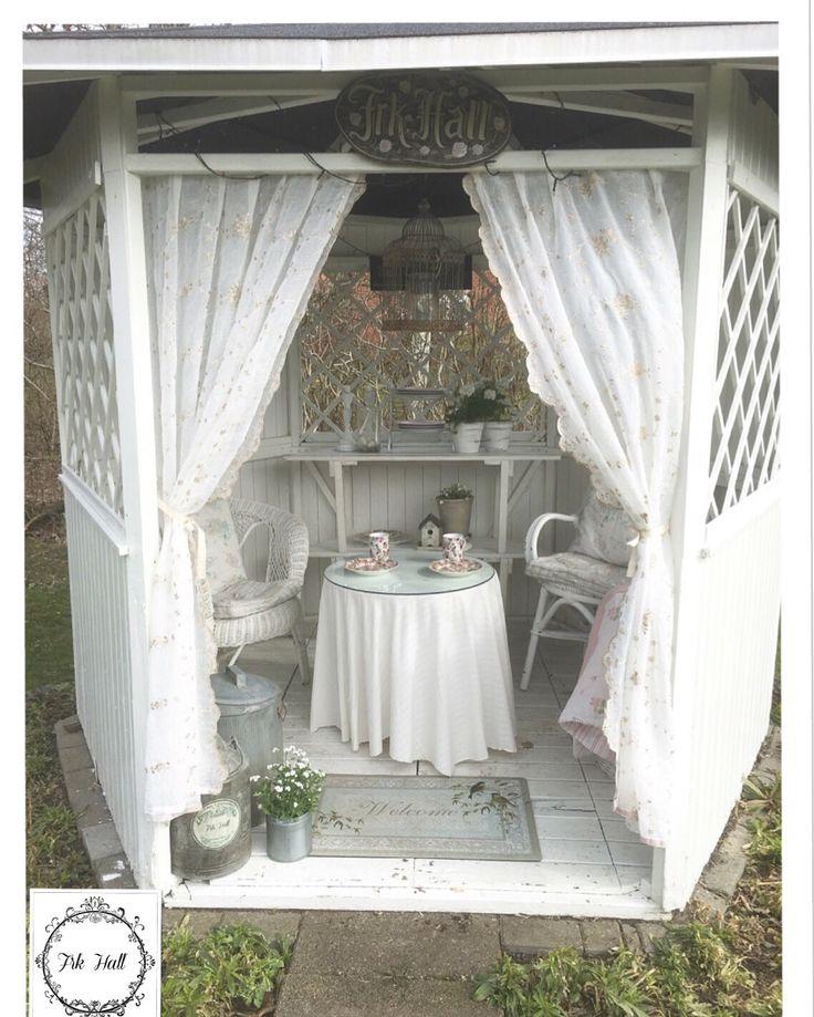 My white beautiful romantic shabby chic pavillon in my garden