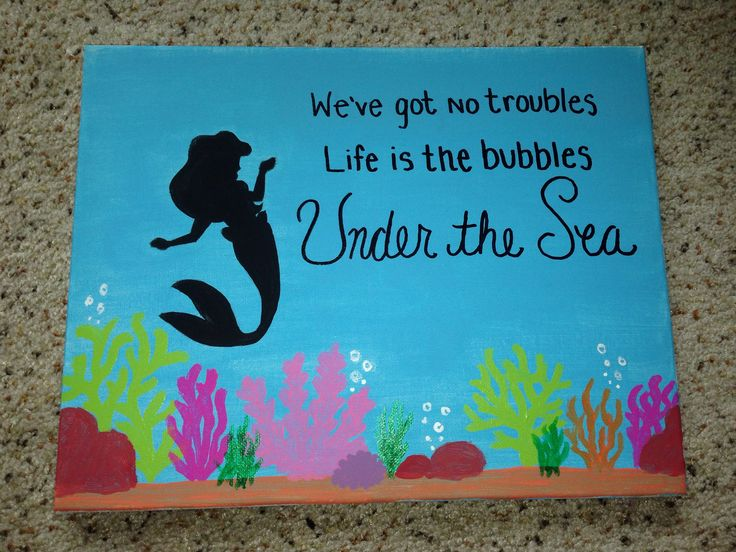The Little Mermaid canvas craft. Ariel silhouette