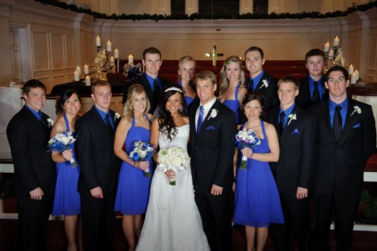 Groom's:  black suit, white, shirt, blue tie and groomsmen (5) apparel: black suit, blue shirt, silver tie!