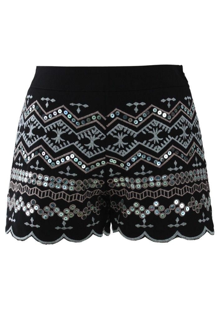 Sequins Embellished Shorts in Black