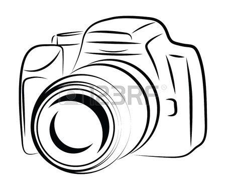 Contour Camera Drawing Stock Vector