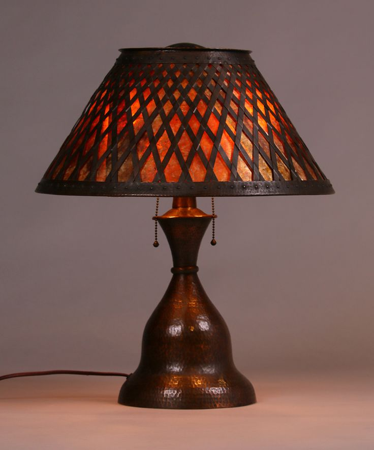 Arts and Crafts | Craftsman Home | Lighting | Fantastic Stickley Brothers hammered copper and mica three-socket lamp with exquisite cutout shade.  Unsigned.  Excellent original patina.  New mica.  21″h x 17″d