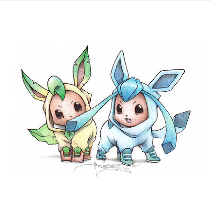 Eevee In A Leafeon And Glaceon Onesie Cute Pokemon