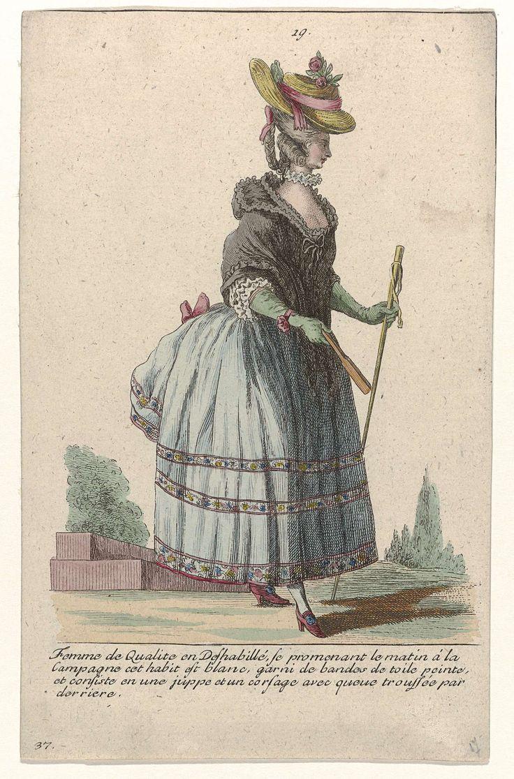 Gallerie des Modes et Costumes Français, 1785, nr. 19, nr. 37, Kopie naar G 40 : Femme de Qualité en Deshabillé..., Pierre Gleich, c. 1785