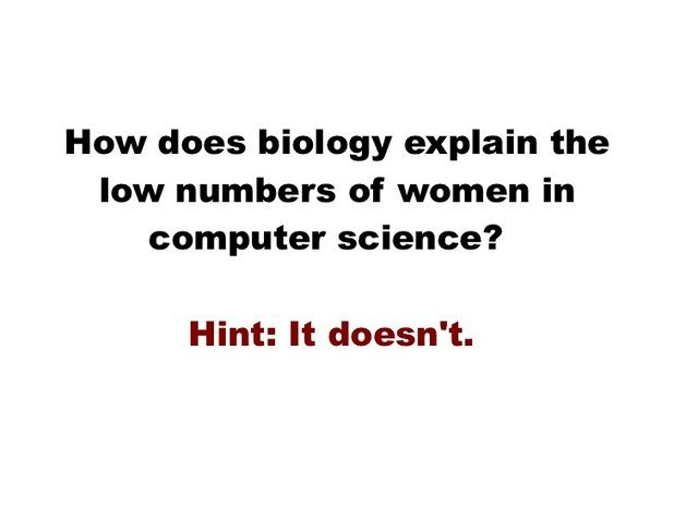 How does biology explain the low numbers of women in