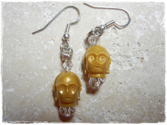 E Lego Star Wars Star Wars C3PO earrings by EVILandENCHANTED, $24.00