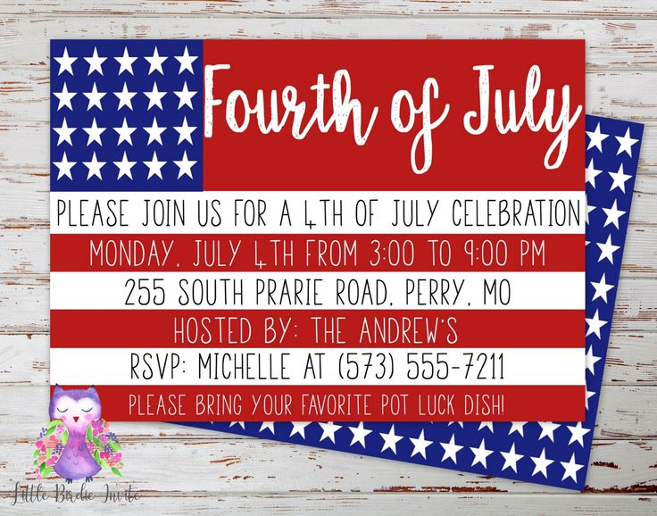 Fourth of July Party Invitation, July 4th Party Invitation, Printable July 4th Invitation, July 4th Invite, Independance Day Party Invite by LittleBirdieInvite on Etsy https://www.etsy.com/listing/290569275/fourth-of-july-party-invitation-july-4th