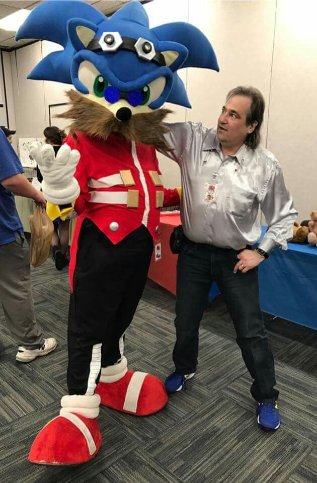 Mike Pollock  (the voice of Dr. Eggman) with Sonic in disguise as Dr. Eggman