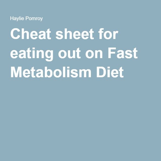 Cheat sheet for eating out on Fast Metabolism Diet