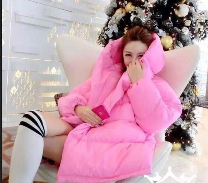 Korean Womens Parka Loose Loose Bread Service Pink Thicken Down Coat Outwear