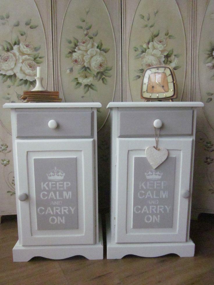 Brocante nachtkasjes,keep calm..