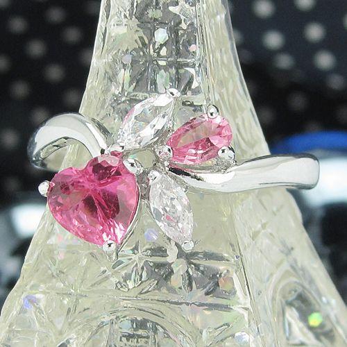 Inel placat cu aur alb 18k cu safir roz