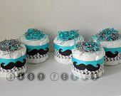 Choose Your Color - Set Of 4 - Mustache Mini Diaper cakes , Little man Diaper cake, Little Man Baby Shower, Mustache Decorations