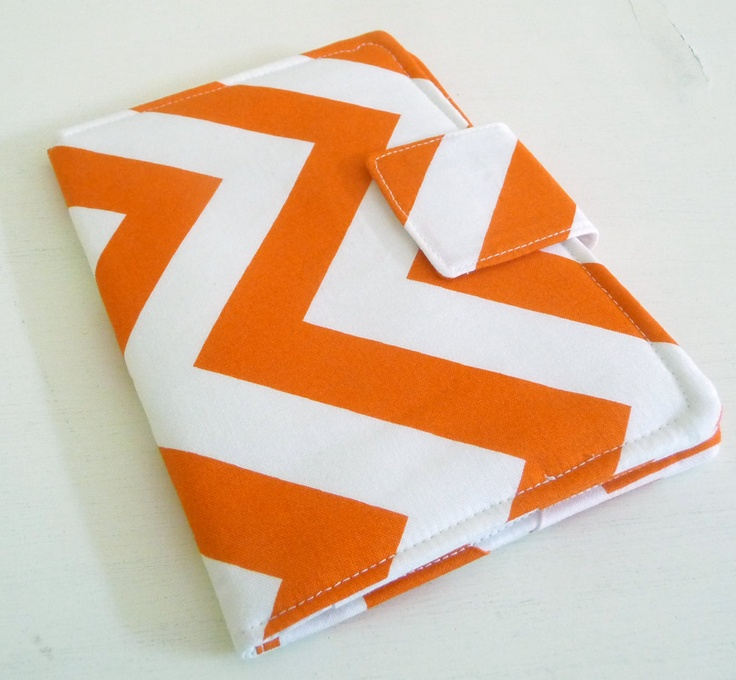 iPad, Kindle, Nook, Kobo Cover - Tangerine Orange and White Zig Zags - Made to Order. $24.00, via Etsy.