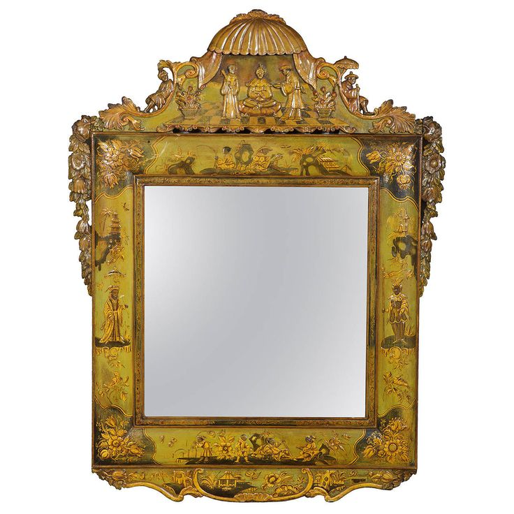 18th Century Lacquer Mirror, Attributed to Martin Schnell