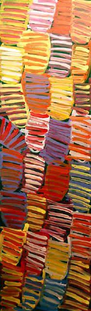 """Body Paint"", by Minnie Pwerle 2005, 41 cm x 151 cm Acrylic on Canvas"