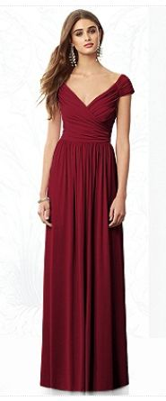 Dessy - long wine colored bridesmaid gown, but Mama wants it in a brighter red color. I just love the neckline!!