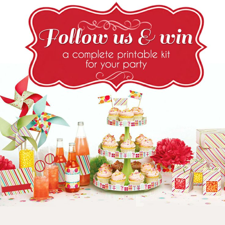 FOLLOW US AND WIN, that easy. Just follow us on at least one social network (Facebook, Twitter, Pinterest or Instragram) or all you want, and you will have more chances to winning a printable kit to decorate your next party. You have opportunity to join up to October 15, 2013. Winners will be posted on our website and in each of the social networks on October 16. FOR MORE INFORMATION VISIT http://mypartyday.net/index.php/siguenos-y-gana.html