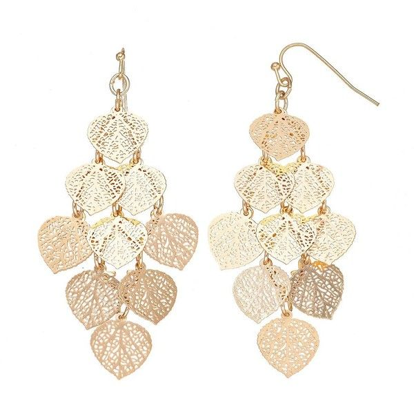 LC Lauren Conrad Filigree Dangle Earrings ($16) ❤ liked on Polyvore featuring jewelry, earrings, gold, gold tone jewelry, gold tone earrings, fish hook jewelry, long earrings and filigree jewelry