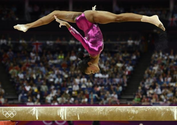 Gabrielle Douglas of the U.S. competes in the balance beam during the women's individual all-around gymnastics final in the North Greenwich Arena during the London 2012 Olympic Games August 2, 2012