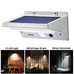 Solar Wall Lights, OPERNEE 21 LED Bright Outdoor Solar Lights Stainless Steel 3 Mode Motion Sensor Wireless Security Flood Light for Garage Pool Patio Yard Driveway Garden