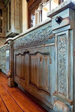 rustic kitchen cabinets - pretty color. by ursula