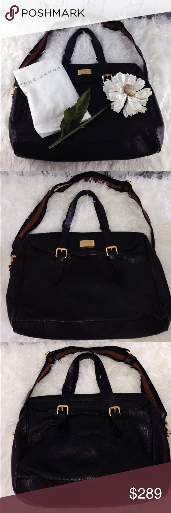 """SALE Marc Jacobs Weekender Black Bag Fabulous Marc Jacobs Messanger Black Bag 16"""" W x 13"""" H 3 separate compartments inside 2 multi purpose compartments! Inside zippered compartment magnetic closure removable Adjustable shoulder strap as well as adjustable handles Like New condition with dust bag Perfect Christmas Gift for that Loved One or Treat yourself to a Beautiful Quality Leather Bag ❤ Marc Jacobs Bags Satchels"""