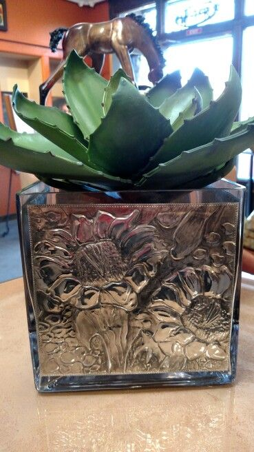 Glass and pewter Repujado plant holder....