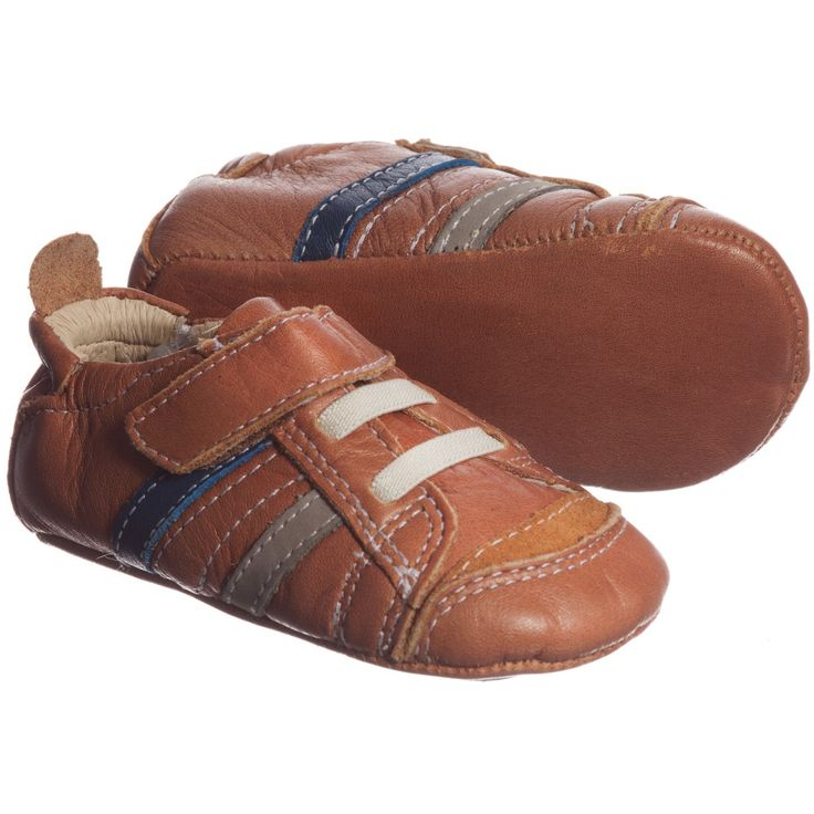 Boys Brown Leather Pre-Walker Trainers, Old Soles, Boy