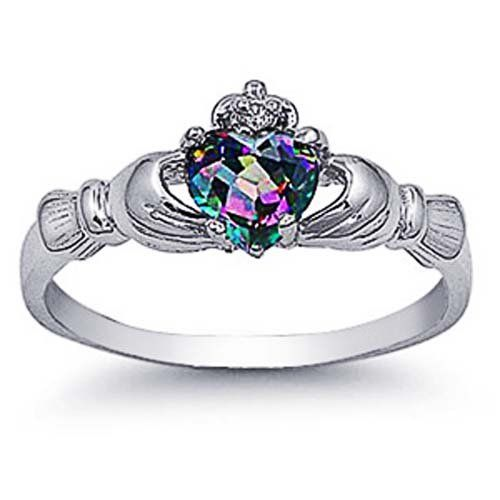 Amazon.com: Rhodium Plated Sterling Silver Wedding & Engagement Ring Rainbow Topaz CZ Claddagh Ring 9MM ( Size 3 to 10): Jewelry
