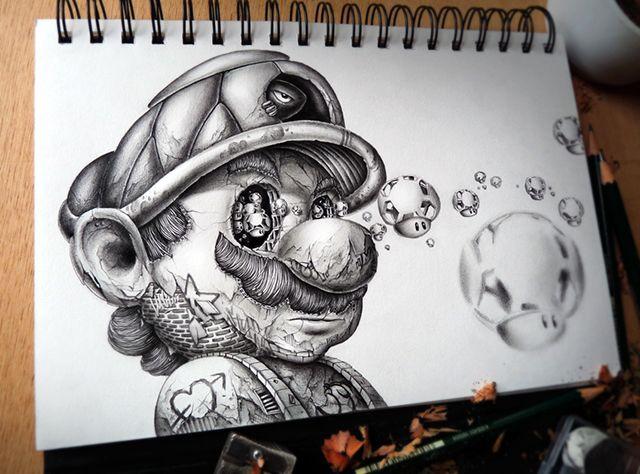 Distroy Creepy Graphite Drawings Of Popular Cartoon Video Game