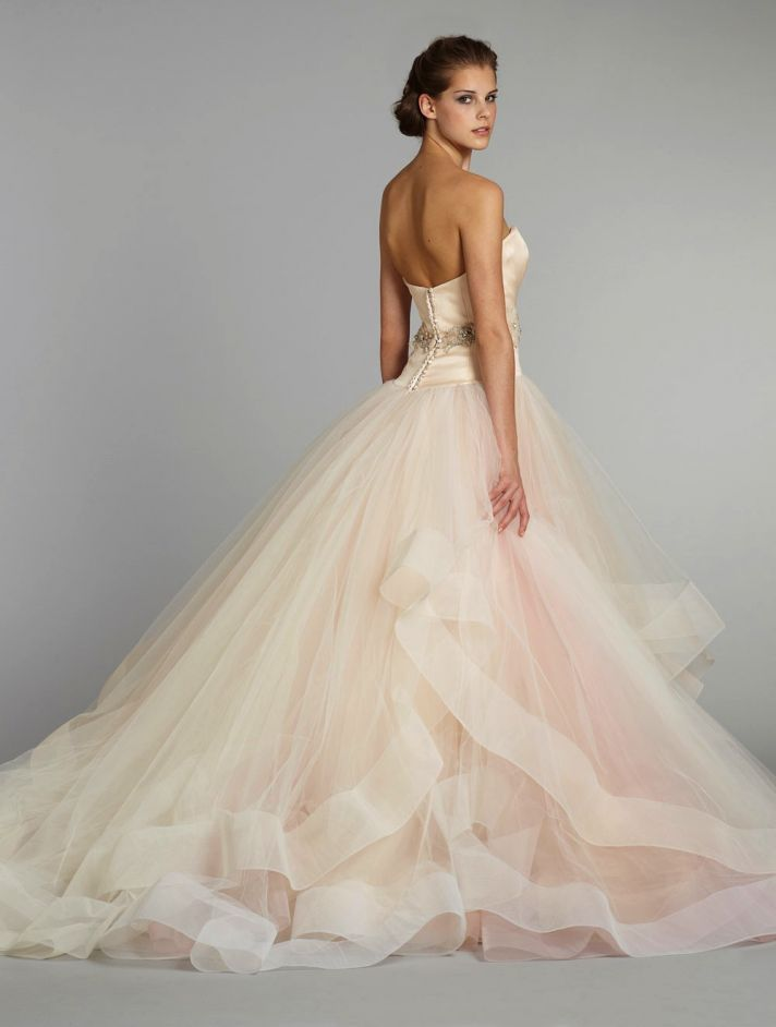 11 Exquisite Wedding Dresses from Lazaro | OneWed  OMG love the color and bottom of this dress!!!!