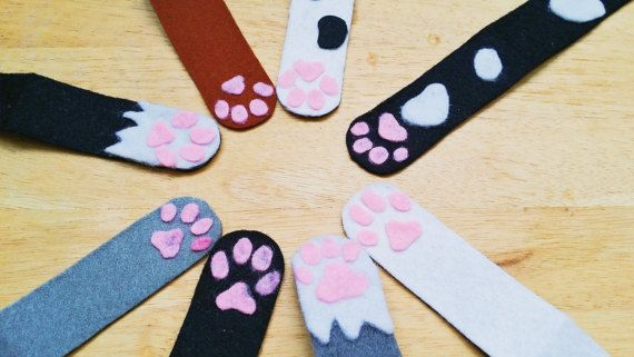 magnetic bookmark cat paw felt cute kawaii by Kats13stuff on Etsy