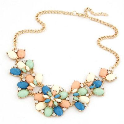 Chiropract Multicolor Metal Inlaid Gemstone Flower Design Alloy Fashion Necklaces   $ 2.99