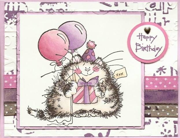 Urban cat. Stamps: Sweet Shapes (the circle), Penny Black, DOTS (sentiment) Paper: purple, white, pink Ink: Memories black, Tim Holtz Dusty Concord. I watercoloured onto one of the ribbons to match the purple in the central image.   After running the white panel through the Cuttlebug, I stamped on it with the circle from Sweet Shapes.