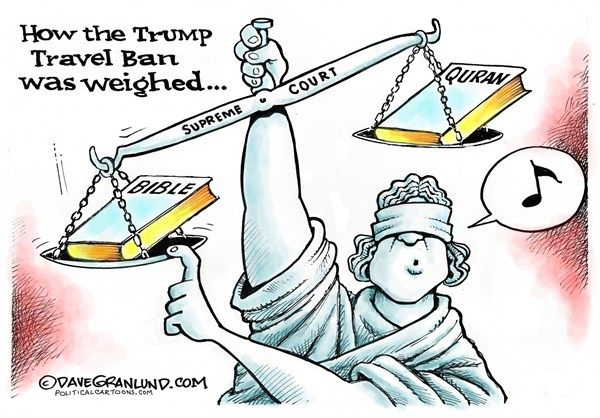 Dave Granlund - Politicalcartoons.com - Trump Travel Ban and SCOTUS COLOR - English - religion, Quran, Bible, supreme court, ruling, islam, muslim, weighed, weigh, rules, decision, muslim ban, reinstated,