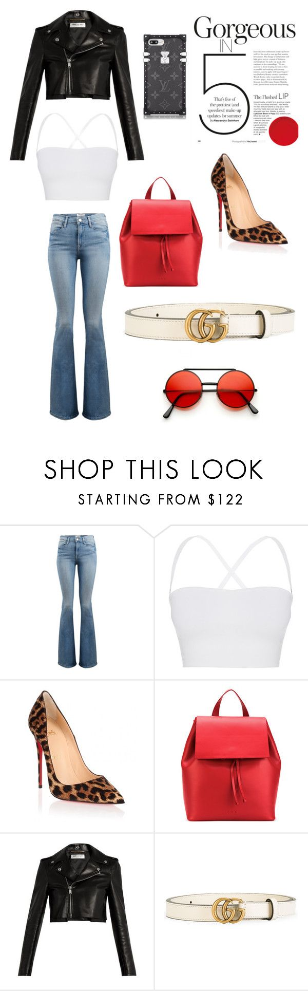 """Business Woman"" by fashionon5thave ❤ liked on Polyvore featuring Frame, Theory, Christian Louboutin, Aesther Ekme, Yves Saint Laurent and Gucci"