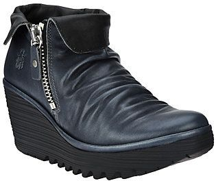 Fly London As Is Leather Wedge Ankle Boots- Yoxi