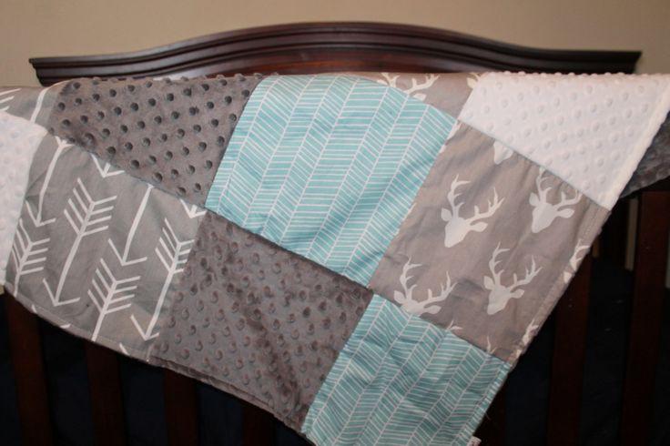 Custom Crib Bedding in Gray Buck, Gray Arrow, Herringbone, and Gray Minky Crib Ensemble