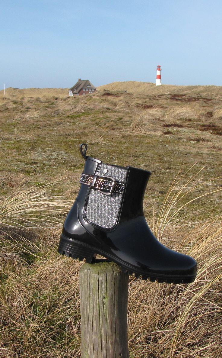Gosch Shoes Gummi-Stiefelette Schwarz-Silber #gosch #sylt #chelsea #stiefelette #gummistiefel