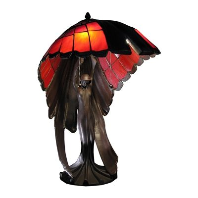 Warehouse of Tiffany TF191625IR Karlie Flying Lady Red 2 Light Tiffany Style Table Lamp