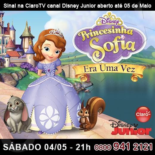 """Canal Disney Júnior, ch 97, com sinal aberto na Claro Tv até 5 de maio. Aproveite a abertura do sinal para conferir a estreia do filme """"Princesinha Sofia"""". http://www.clarotv.br.com/"""